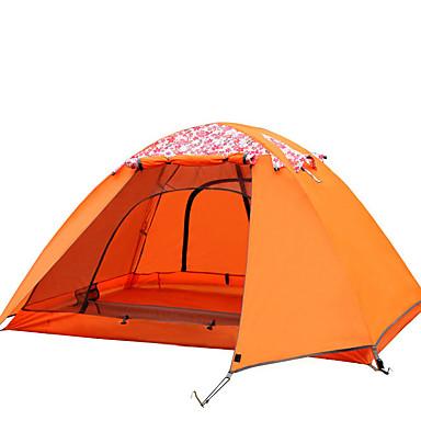 billige Telt og ly-FLYTOP 2 personer Telt Utendørs Vanntett Regn-sikker Hold Varm Med tredobbelt lag camping Tent til Jakt Vandring Camping Glassfiber polyester Oxford