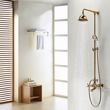 Antique Shower System Rain Shower Handshower Included Ceramic Valve Three Holes Two Handles Three Holes Ti-PVD, Shower Faucet
