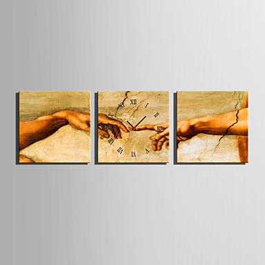 Moderni/nykyaikainen Muuta Seinäkello,Neliö Kanvas 25 x 25cm(10inchx10inch)x3pcs Sisällä Kello