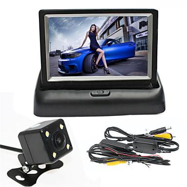 renepai® 4,3 hüvelykes összecsukható megjelenítő monitor + vezeték nélküli, 170 ° hd autó tolatókamera + nagylátószögű vízálló kamera