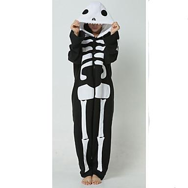 Pijama Kigurumi Fantomă Schelet Pijama Întreagă Costume Lână polară Negru/Alb Cosplay Pentru Adulți Sleepwear Pentru Animale Desen animat