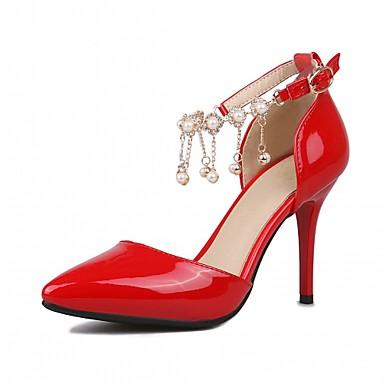 Damen Schuhe Kunstleder Frühling Herbst Komfort High Heels Stöckelabsatz Spitze Zehe Perlenstickerei für Normal Büro & Karriere Kleid