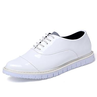Damen-Sneaker-Outddor Büro Lässig-Lackleder-Flacher Absatz-Komfort-Schwarz Blau Weiß