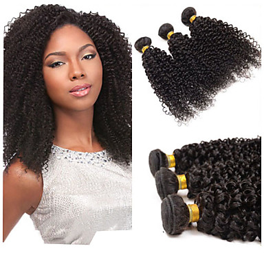 Gerçek Saç Orta Dalgalı Malezya Saçı İnsan saç örgüleri Kinky Curly Kıvırcık Dalgalar Saç uzatma 1 Parça Siyah