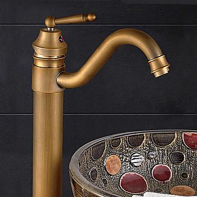 Moderno Lavabo Ruotabile Valvola in ceramica Uno Una manopola Un foro Bronzo anticato, Lavandino rubinetto del bagno