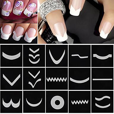 18 pcs Consejos de diseño francés arte de uñas Manicura pedicura Moda Diario / Guía de consejos de francés
