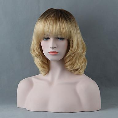 Pelo humano pelucas sin tapa Cabello humano Recto Corte Bob / Con flequillo Raíces oscuras Ombre Corta Peluca Mujer / Corte Recto