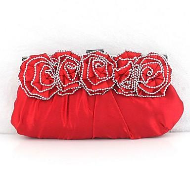 Damen Taschen Satin Tragetasche Unterarmtasche Abendtasche Schlüsselanhänger Geldbörse Handgepäck Handy-Beutel Blume für Hochzeit