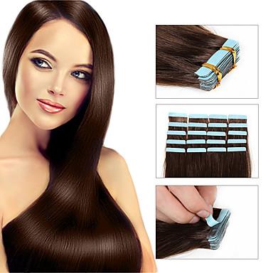 billige Hairextensions med ekte hår-Febay Tape Inngang Hairextensions med menneskehår Rett Ekte hår Hairextensions med menneskehår Brasiliansk hår 1 pakke Dame Medium Rødbrun