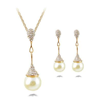 Schmuck 1 Halskette 1 Paar Ohrringe Perle Alltag Perle 1 Set Damen Goldfarben Silber Hochzeitsgeschenke