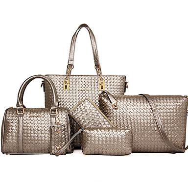 女性 バッグ オールシーズン レザーレット 特殊材料 バッグセット 6個の財布セット スパンコール のために フォーマル ゴールド ブラック グレー パープル ライトブラウン