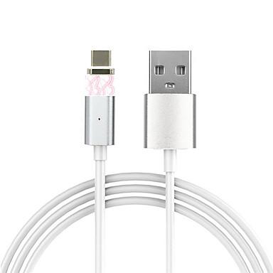 Tipo-C Adaptador de cabo USB Magnética Cabo Para Samsung / Huawei / LG 100cm Alumínio / PVC