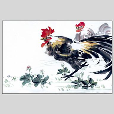 手描きの 動物 水平パノラマ, クラシック 近代の キャンバス ハング塗装油絵 ホームデコレーション 1枚