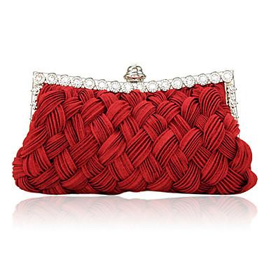 Kadın's Çantalar Saten Gece Çantası Kristaller / Yapay Elmaslar için Davet / Parti İlkbahar yaz Fuşya / Kırmzı / Kristal / Düğün Çantaları / Düğün Çantaları