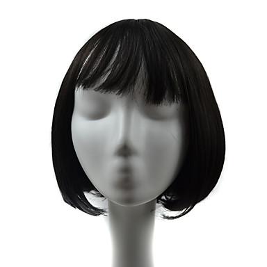 女性 人工毛ウィッグ キャップレス カーリー ブラック ボブスタイル・ヘアカット バング付き ナチュラルウィッグ コスチュームウィッグ