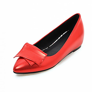 Damen-Flache Schuhe-Büro Kleid Lässig-Kunstleder-Keilabsatz-Komfort-Rot Silber Grau