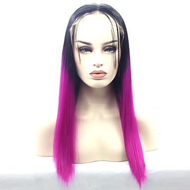 女性 人工毛ウィッグ フロントレース ストレート パープル ナチュラルヘアライン ナチュラルウィッグ ハロウィンウィッグ カーニバルウィッグ コスチュームウィッグ