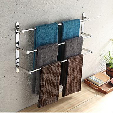 povoljno Dom i vrt-ručnik bar nehrđajući čelik 3 razine ručnik stalak kupaonica police zidne 70cm
