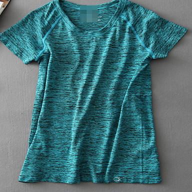 Damen Laufshirt Kurzarm Rasche Trocknung Atmungsaktiv Schweißableitend Sweatshirt Oberteile für Yoga Übung & Fitness Rennsport Terylen