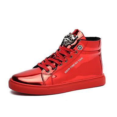 Herren Sneaker Komfort Lackleder Herbst Winter Normal Komfort Schnürsenkel Flacher Absatz Rot Blau Flach
