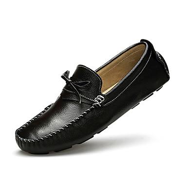 男性用 靴 PUレザー 冬 コンフォートシューズ ローファー&スリップアドオン 編み上げ のために カジュアル ブラック ブルー ダークブラウン