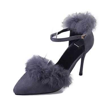 Damen-High Heels-Lässig-Vlies-StöckelabsatzSchwarz Grau Rot