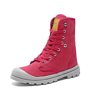 Miesten kengät Canvas Kevät Syksy Maiharit Comfort Bootsit Kävely Solmittavat varten Kausaliteetti Musta Fuksia Vaalean keltainen Vaalean