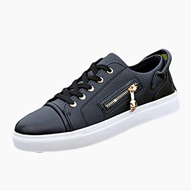 Herren Sneaker Komfort PU Frühling Herbst Komfort Schnürsenkel Flacher Absatz Weiß Schwarz Flach