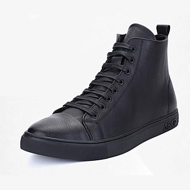 Herren-Sneaker-Outddor-PU-Flacher Absatz-Komfort-Schwarz