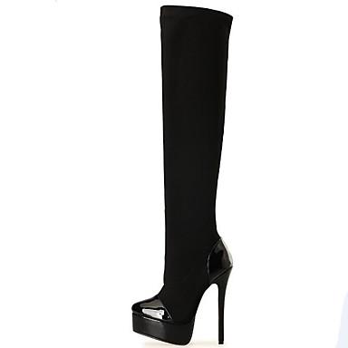 Bootsit-Piikkikorko-Naisten-Fleece-Musta-Juhlat-Platform