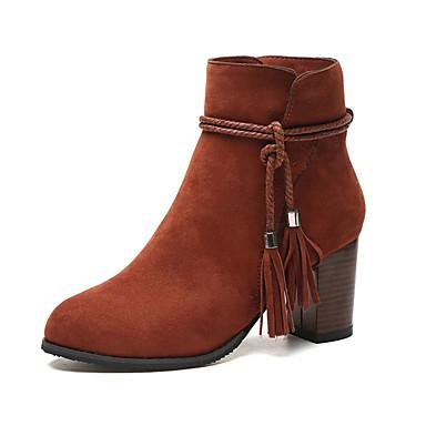 Damen-Stiefel-Lässig-Leder-Blockabsatz-Komfort-Schwarz Dunkelbraun