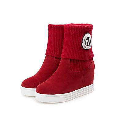 Mujer Zapatos Vellón Primavera / Otoño / Invierno Creepers / Confort / Botas de nieve Botas Paseo Media plataforma Dedo redondo Negro / Rojo