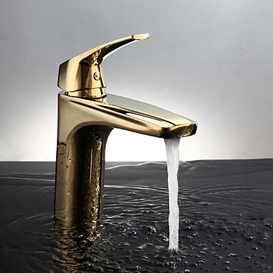 Baño grifo del fregadero - Con Termostato Ti-PVD Montaje en encimera Sola manija Un agujero / Latón