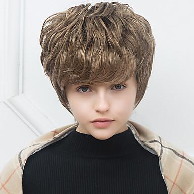 快適な短い自然なウェーブ人間の髪の毛のキャップレスかつら