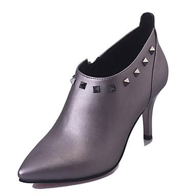 Damen-High Heels-Outddor-PU-Stöckelabsatz-Komfort-Schwarz Grau