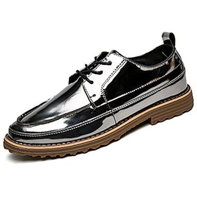 Herren-Sneaker-Outddor-PU-Flacher Absatz-Komfort-Schwarz Blau Silber