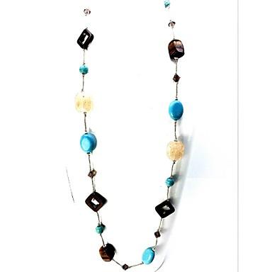 Damen Einzelkette Gestalten Euramerican Modisch Stränge Halskette Multi-Stein Kristall Synthetische Edelsteine Krystall Türkis Stränge