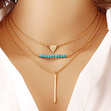 Mujer Circonita En Capas Collares con colgantes / Collares en capas - Turquesa Geométrico, Multi capa Dorado Gargantillas Para Diario