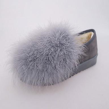 Damen-Flache Schuhe-Lässig-PU-Flacher Absatz-Komfort-Schwarz Grau Braun