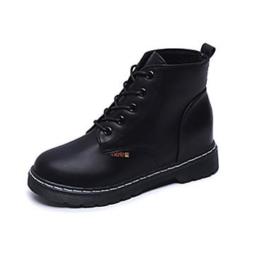 Damen-Stiefel-Lässig-PU-Niedriger Absatz-Komfort-Schwarz Rot