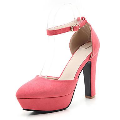 Damen Schuhe Vlies Frühling Sommer Herbst High Heels Blockabsatz Runde Zehe Schnalle für Hochzeit Kleid Grau Rot Rosa Hellbraun Khaki