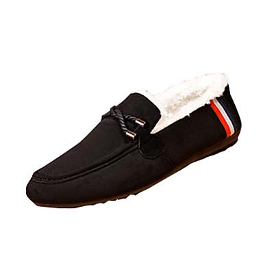 Herren-Loafers & Slip-Ons-Lässig-PU-Flacher Absatz-Komfort-Schwarz Blau Rot