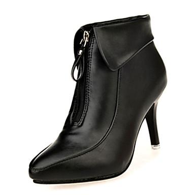 Damen Stiefel Komfort Modische Stiefel PU Herbst Winter Normal Komfort Modische Stiefel Reißverschluss Stöckelabsatz Schwarz Rot7,5 - 9,5