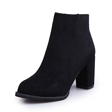 Damen-Stiefel-Lässig-PU-BlockabsatzSchwarz Grau Khaki