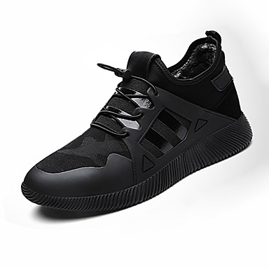 Herren-Sneaker-Sportlich-PU-Flacher Absatz-Komfort-Schwarz