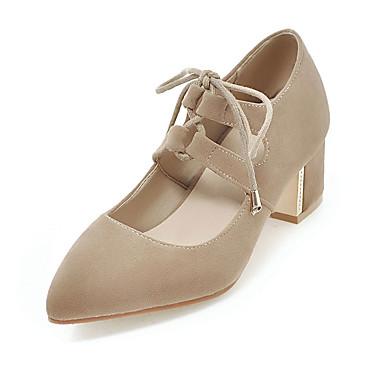 Damen Schuhe Vlies Frühling Sommer Herbst High Heels Blockabsatz Spitze Zehe Schnürsenkel für Normal Party & Festivität Schwarz Beige Gelb