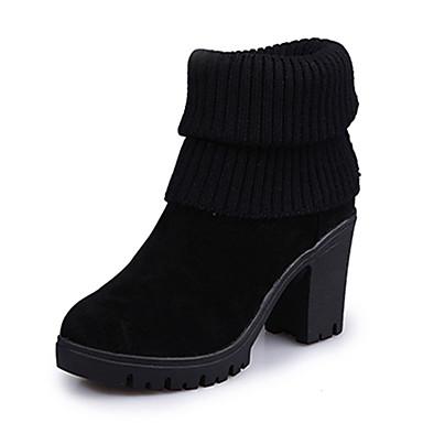 Damen Stiefel Komfort Springerstiefel PU Herbst Winter Normal Komfort Springerstiefel Blockabsatz Schwarz Grau 7,5 - 9,5 cm
