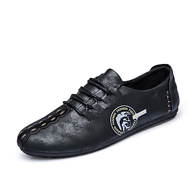 Herren-Loafers & Slip-Ons-Outddor Büro Lässig-Wildleder Leder-Flacher Absatz-Komfort-Schwarz Grau Khaki