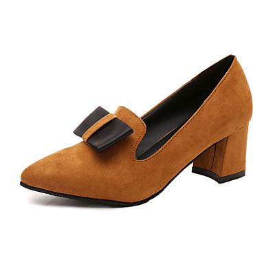 Damen-High Heels-Büro Kleid Lässig-Wildleder-Blockabsatz-Komfort-Schwarz Grau Gelb Rot Dunkelbraun