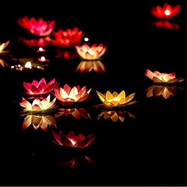 lotus dom Dia dos Namorados desejando vela votiva cor da lâmpada vela de aniversário lâmpada lanterna água casamento decoração ramdon